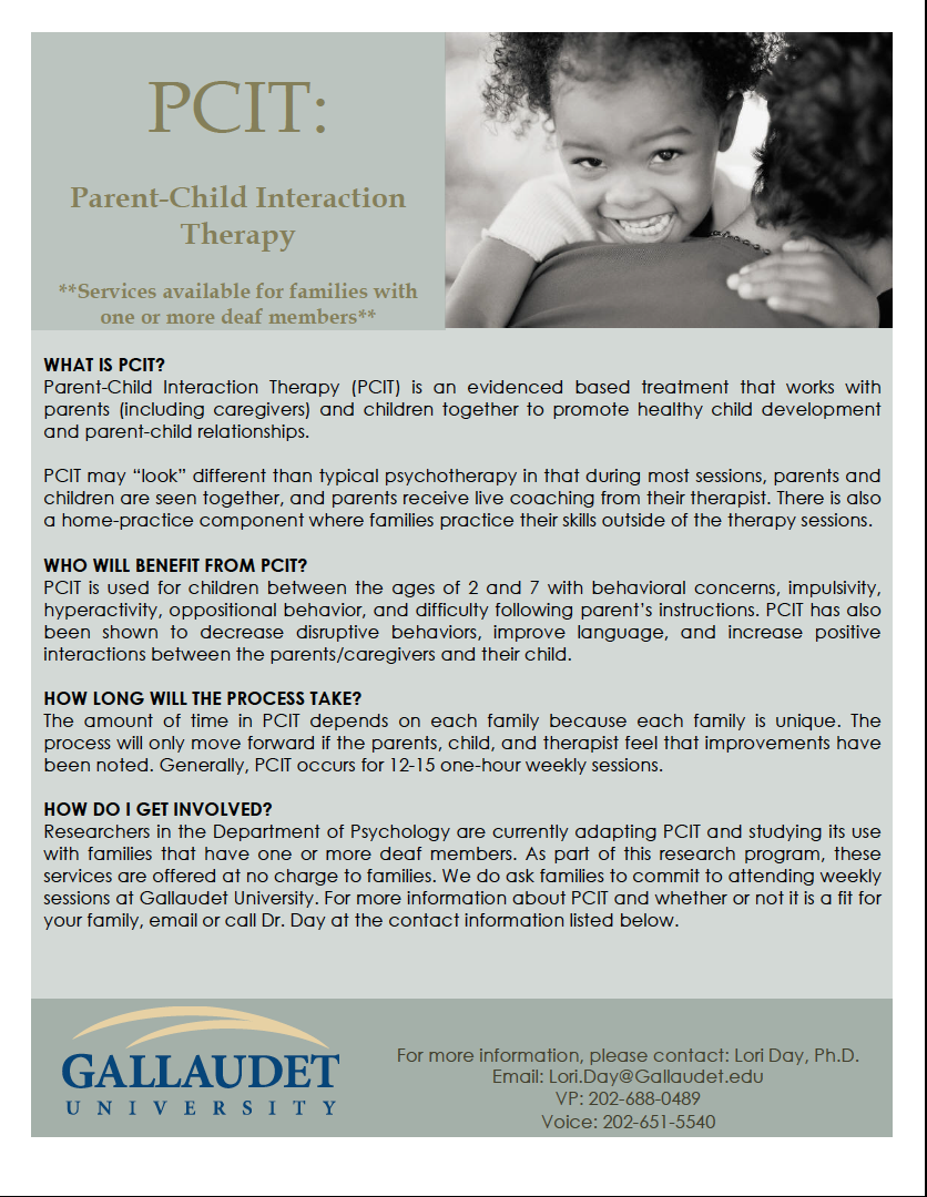 Pcit Improving Child Behavior >> Parent Child Interaction Therapy American Society For Deaf Children