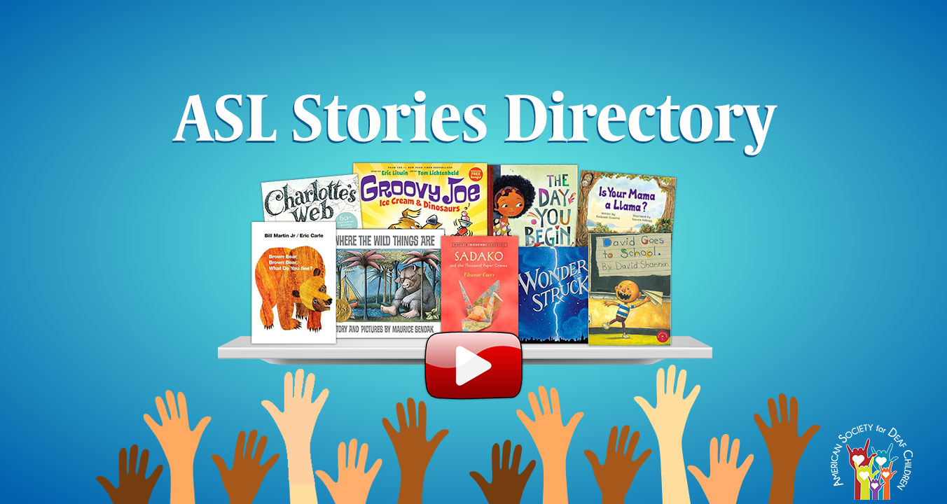 sign language stories - asl stories directory - shows children's books, hands, and a video play button