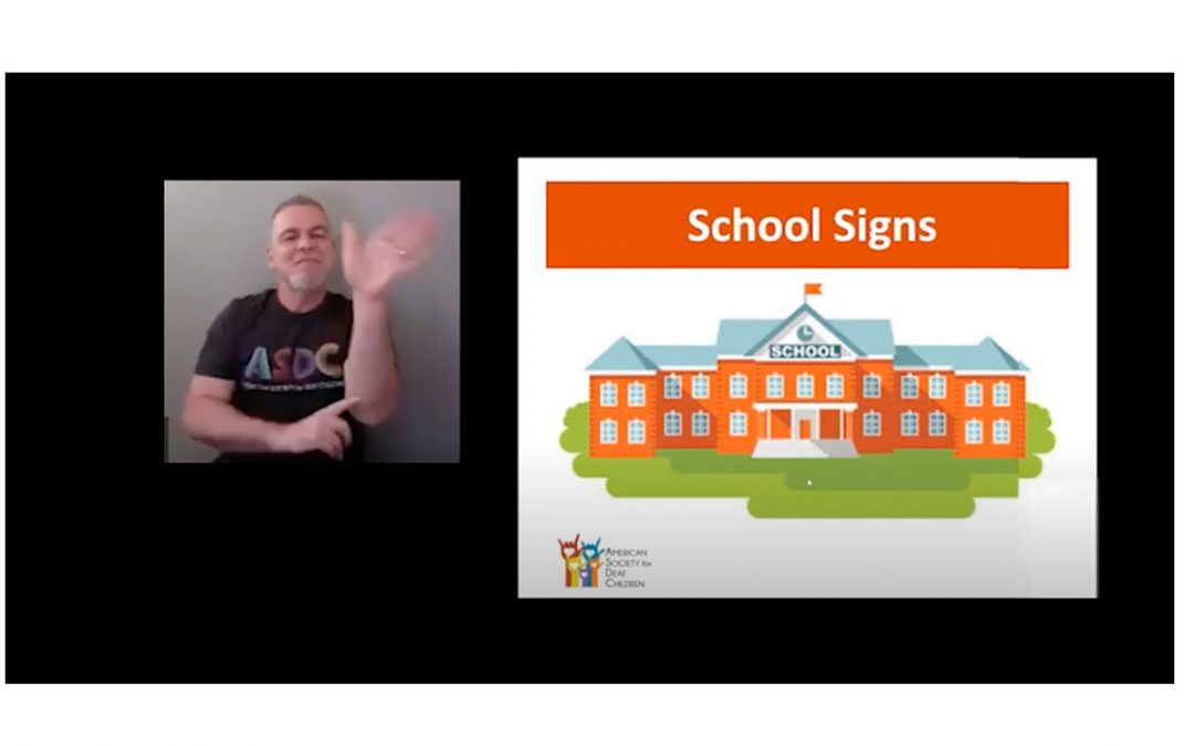 ASL School Signs Class - image of a teacher next to a slide that says school signs