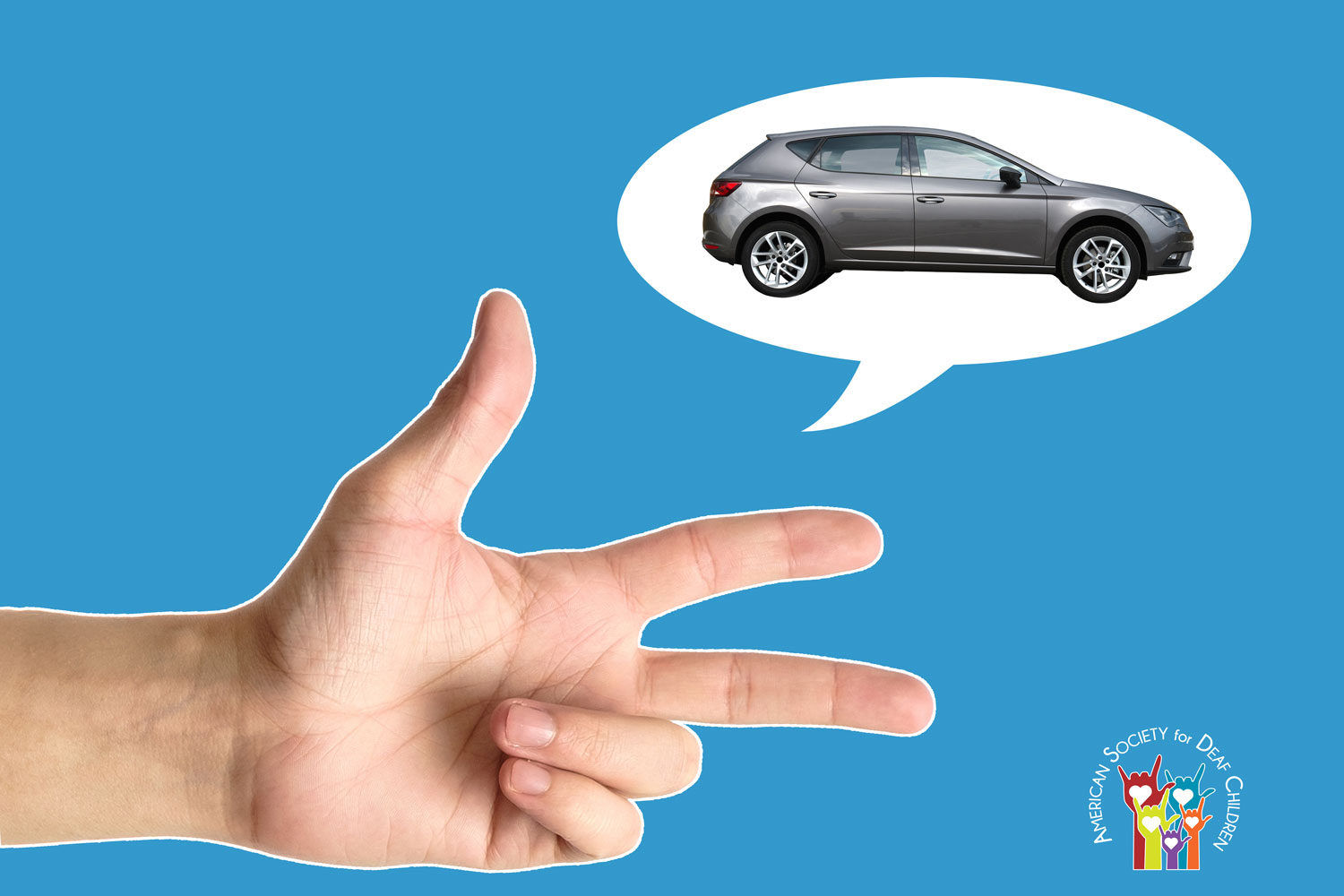 images shows a hand in the 3-hand shape, oriented horizontally. Above it is a speech balloon with a grey car in it.