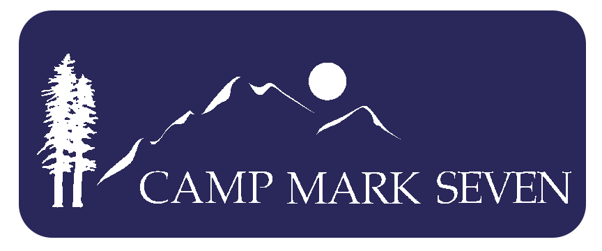 image shows outline of trees, mountains and the moon and the words camp mark seven