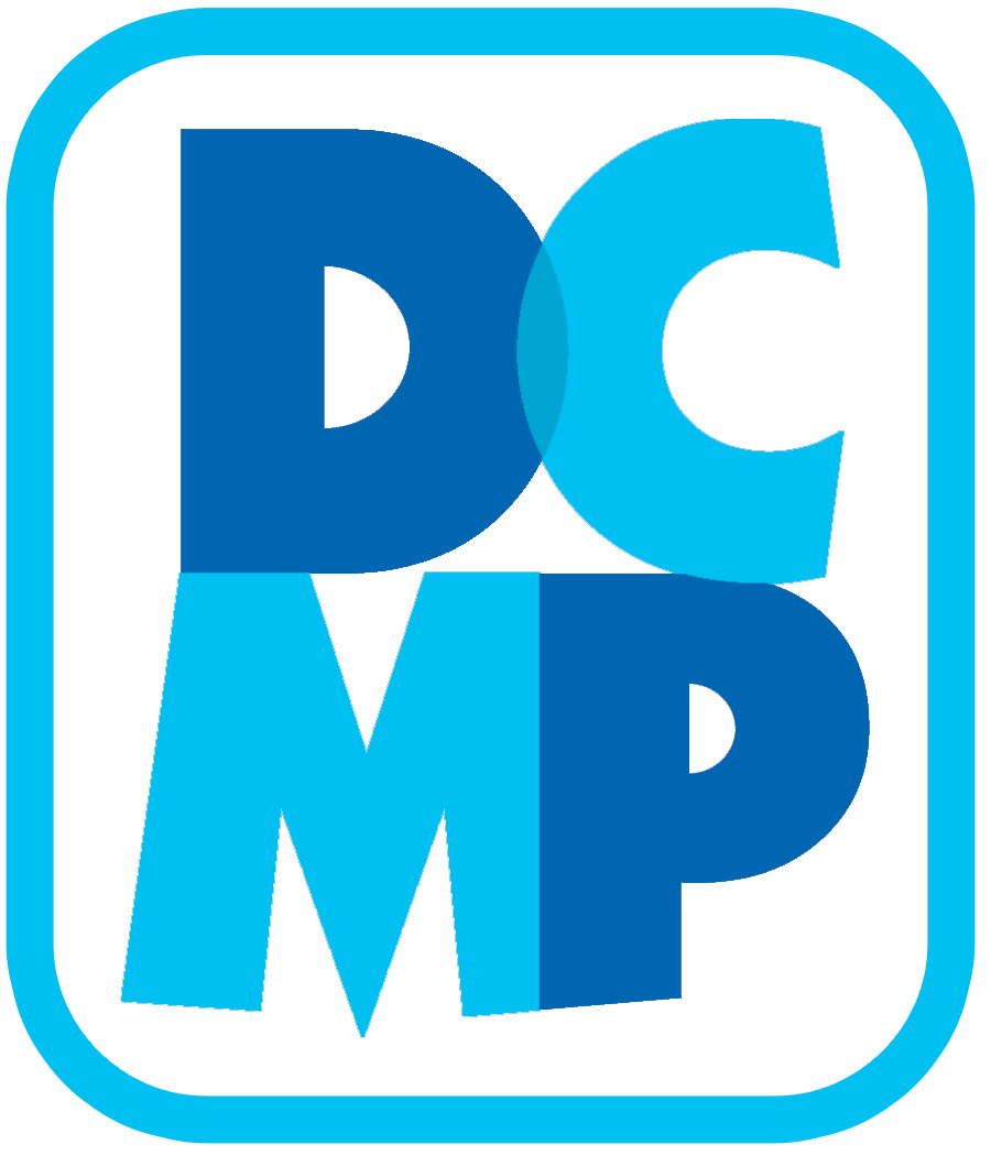 image shows the DCMP logo, the letters DC are on top and MP are on the bottom. Letters are shades of blue.