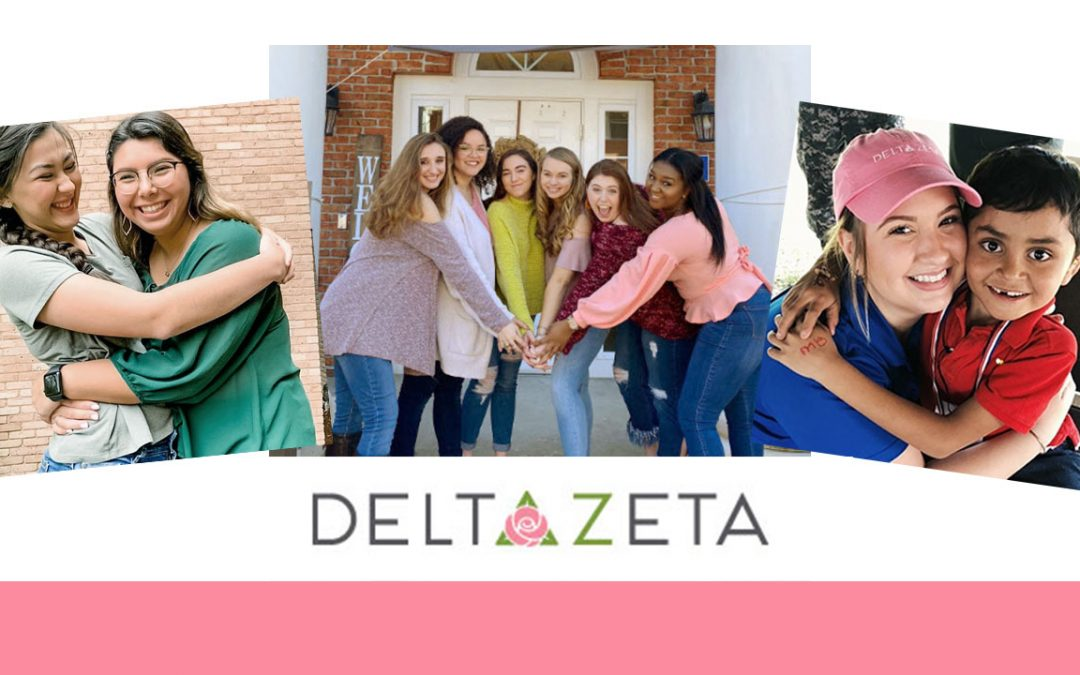 image show the Delta Zeta Sorority logo and happy young women
