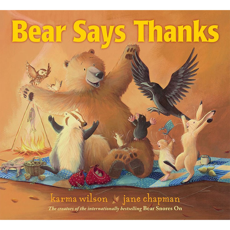 image shows the Bear Says Thanks book cover with Bear and his animal friends raising their arms up