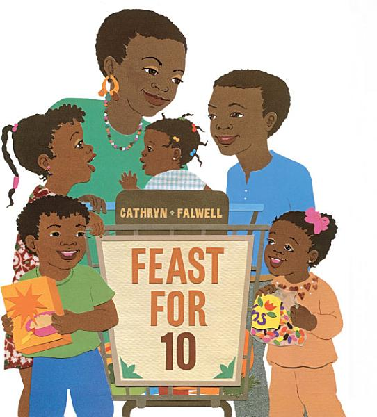 Image is the book cover for Feast for 10 and shows a happy family