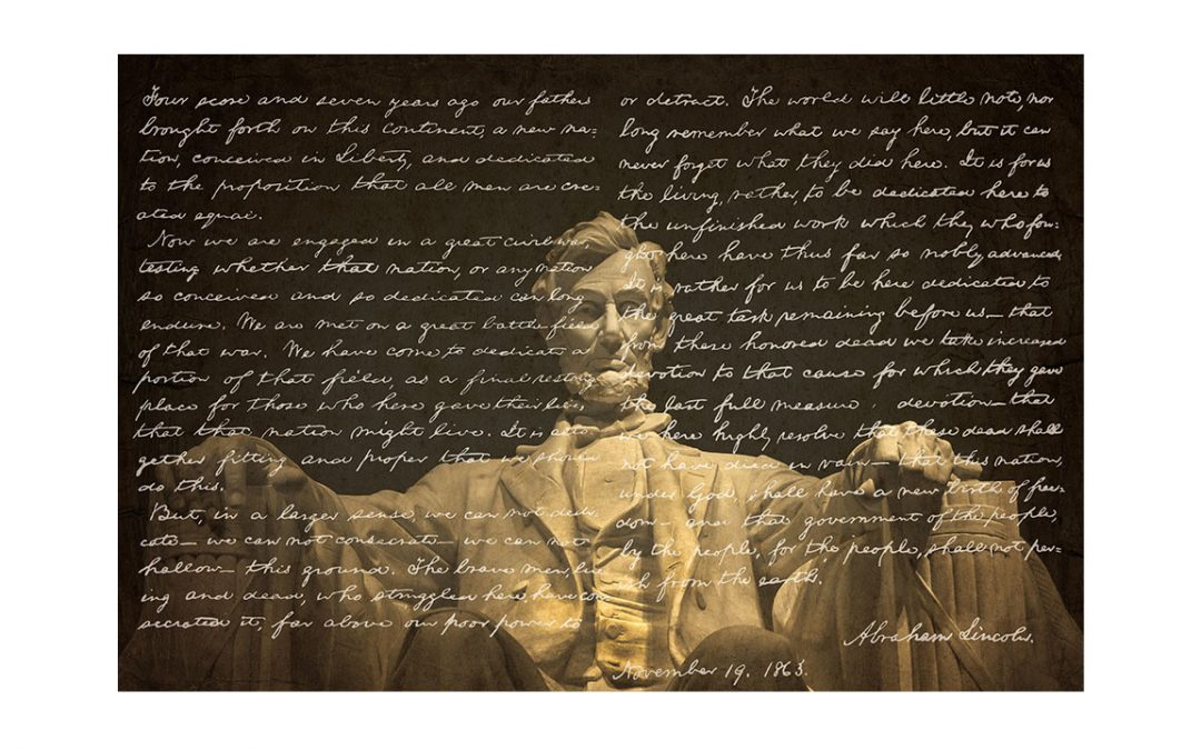 image shows the Lincoln memorial statue with the words of the Gettysburg address superimposed over the image