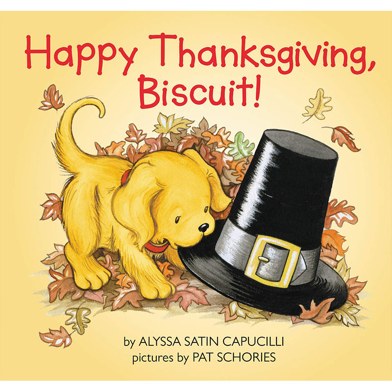 image shows the cover of Happy Thanksgiving, Biscuit! book. A puppy is biting the rim of a pilgrim hat