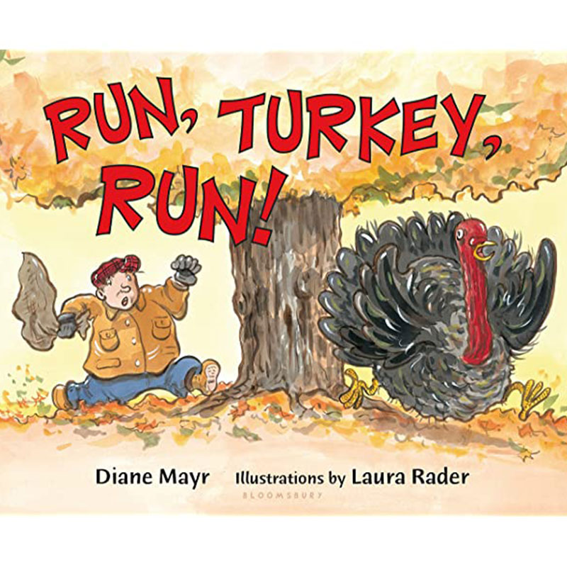 image shows cover of the book Run, Turkey, Run! and shows an illustration of a man chasing a turkey