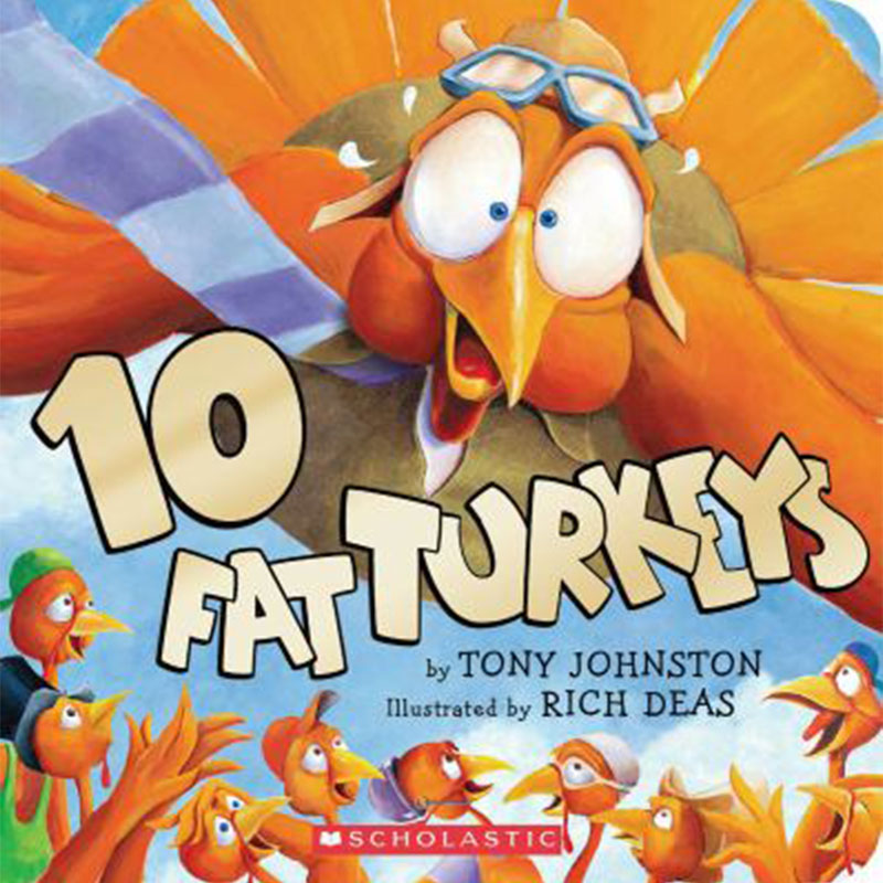 image shows cover of book 10 Fat Turkeys and shows a large flying turkey with aviation goggles on