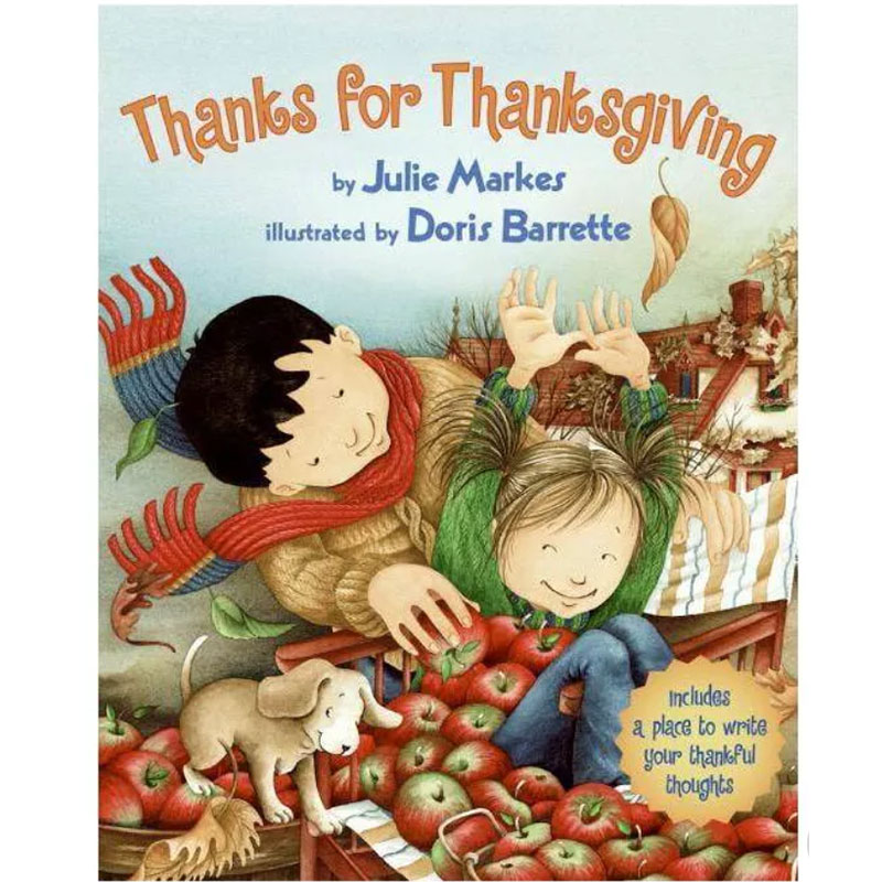 image shows cover of the book Thanks for Thanksgiving. A father and daughter are shopping for apples