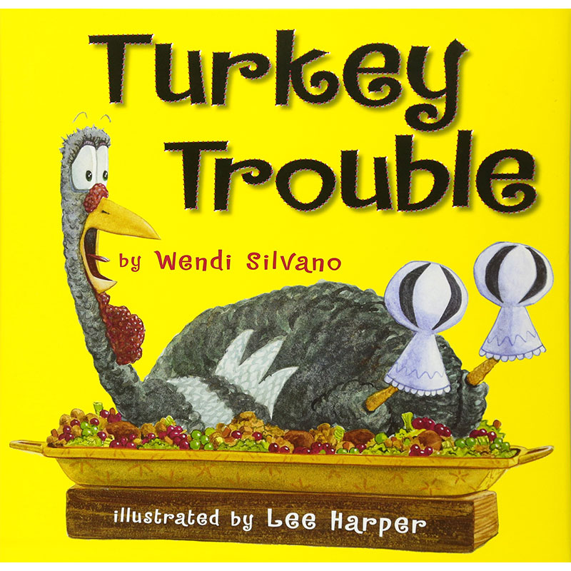 Image shows cover of book Turkey Trouble, an illustration of a distressed turkey on a platter