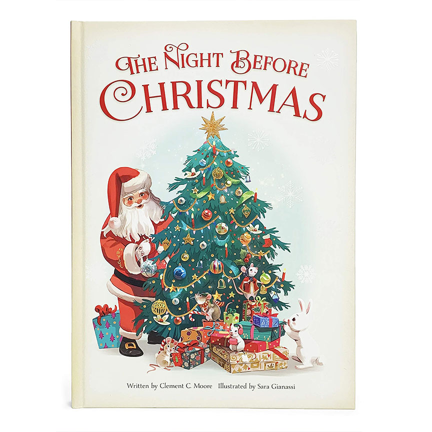 image shows cover of book Twas the Night Before Christmas. Santa is behind a Christmas tree