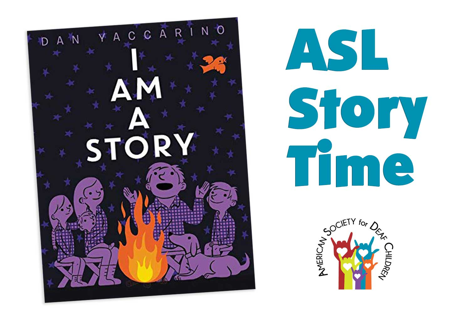 image shows the cover of the book, I Am A Story, with the title and an illustration of people gathered around a campfire