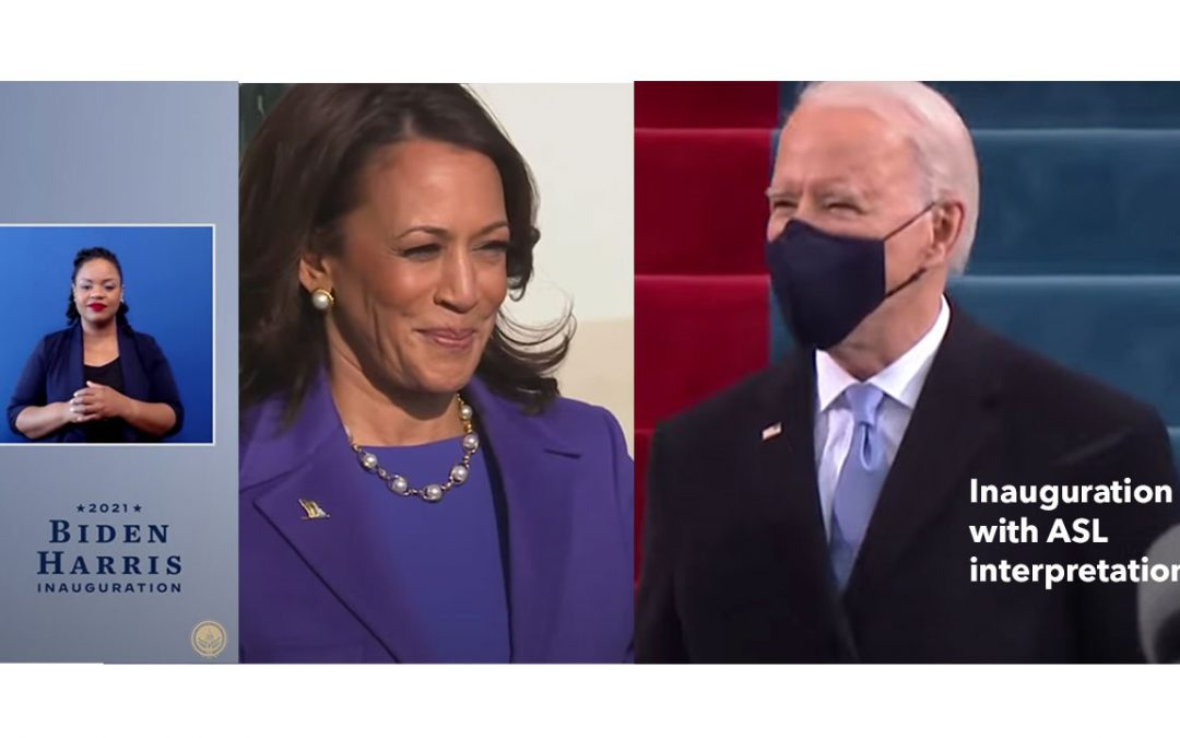biden-harris inauguration in asl - image shows biden, harris and an asl interpreter