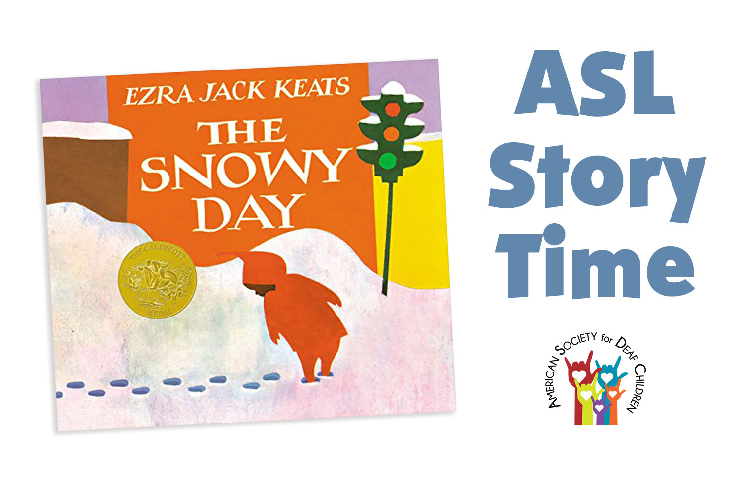 image shows cover of the book the Snowy Day with an child looking at their footsteps in the snow