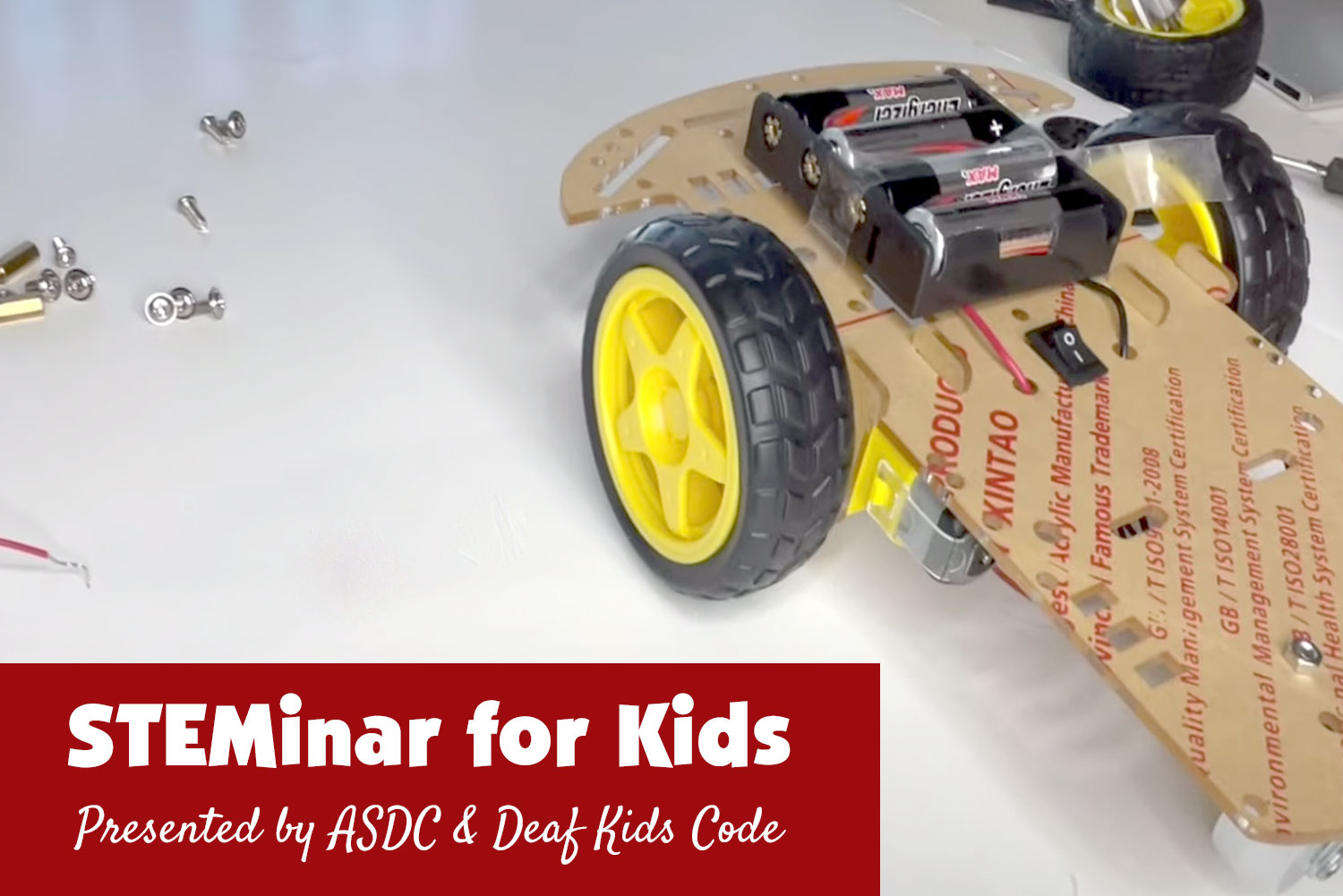 image shows a motorized car project for kids
