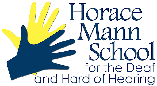 shape of two hands, one yellow and one blue with text: Horace Mann School for the Deaf and Hard of Hearing
