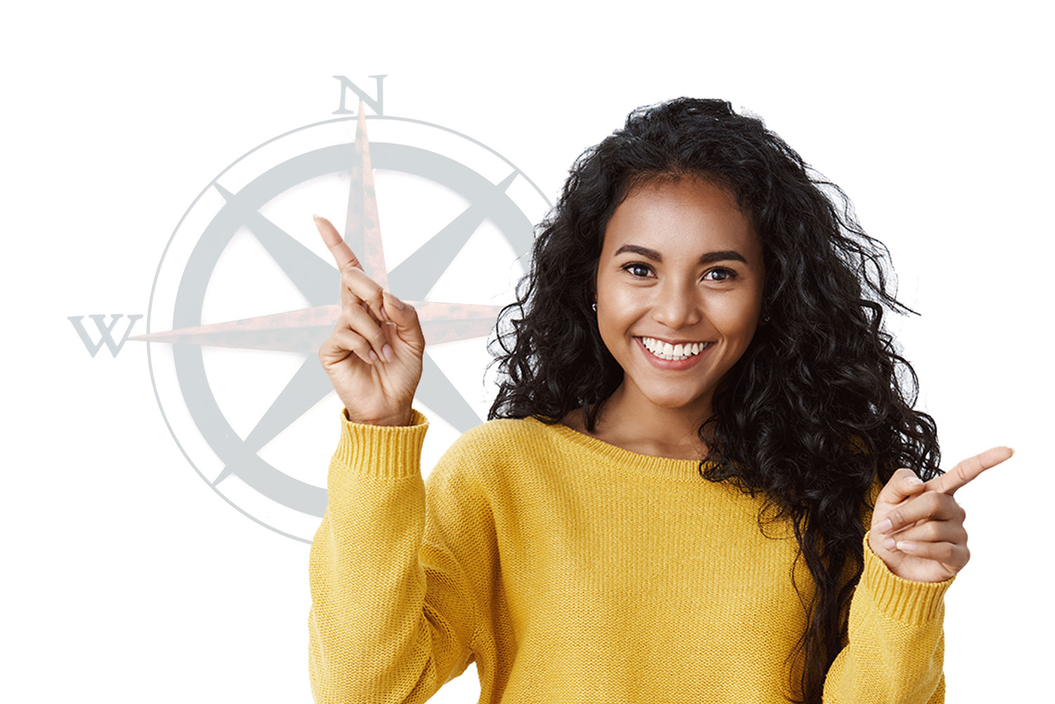 image shows a woman pointing in two directions. A compass appears in the background.