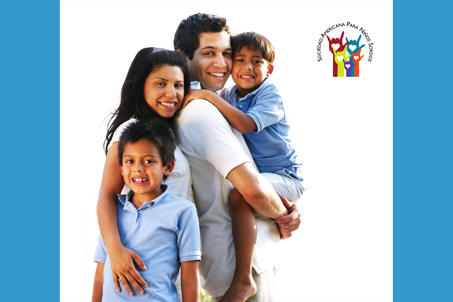 happy Latino family with two children